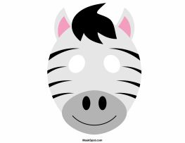 Zebra mask templates including a coloring page version of the mask. Free printable PDF at http://maskspot.com/download/zebra-mask/