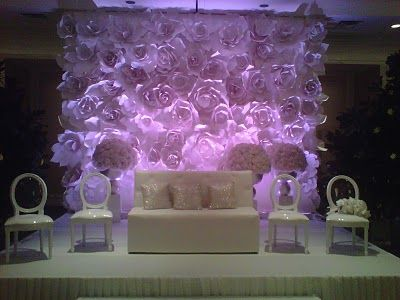 Chanel fashion show inspired huge large paper flower wall for Altar wall decoration