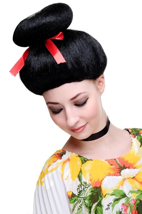 Party japanese geisha girl hair bun wigs