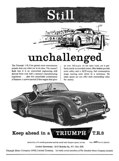 1958 Triumph TR3 ad | Flickr - Photo Sharing!