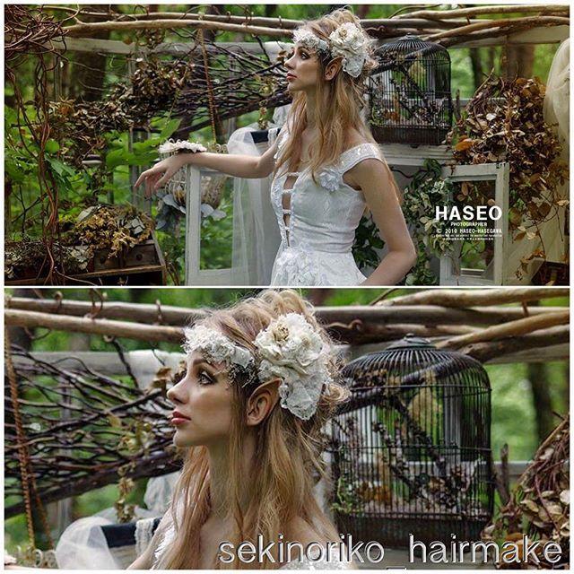 【sekinoriko_hairmake】さんのInstagramをピンしています。 《アリーナさんヘアandメイク♡ 「最後のエルフ」 同じ人間と思えないほどのスタイルと美しさでした‥♡うっとり #HASEO さん撮影 #撮影 #作品撮り #エルフ #森 #ヘアメイク #hairmake #ヘア #メイク #hair #make》