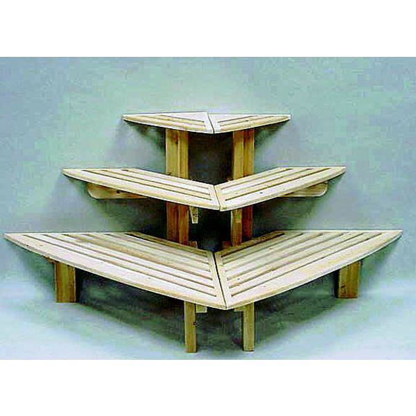 triangular tiered cedar display table just one would also look great in the corner of