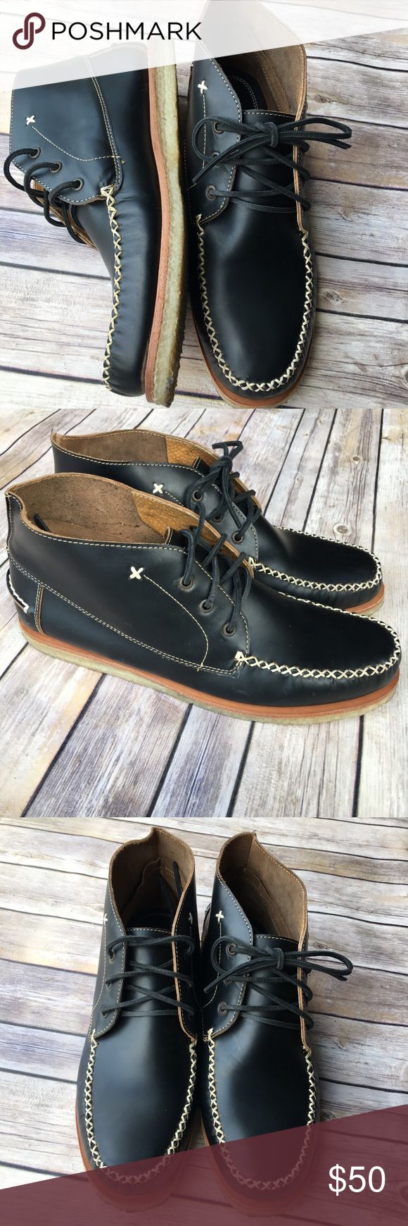 J. D. Fisk Black Chukka boot with leather laces Black chukka boots with striking white stitching details and rubber soles. I'm excellent condition only worn a few times. Sizing isn't listed in shoe but they are a size 12. Black leather laces come with. No longer have the box. J. D. Fisk Shoes Chukka Boots