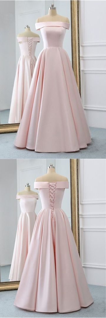 Pink Satin Long Evening Dress With Pockets, Pink Prom Gowns,C0360