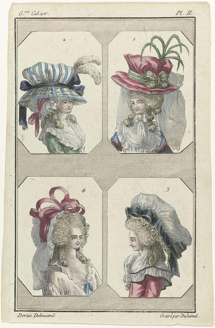 A.B. Duhamel | The First Fashion Magazine, A.B. Duhamel, Buisson, 1786 | Vier vrouwenbustes, genummerd 1 tot en met 4, met verschillende kapsels en hoofddeksels. De begeleidende tekst op pp.  43 en 44 van het zesde Cahier vermeldt:   No. 1 (rechtsboven): 'Bonnet à la Captif'. Toque van satijn 'nakara', versierd met een groen lint met witte strepen. Twee biaisbanden van witte crêpe. Op de bol van de muts een reigerveer. Oorringen met parels. Fichu van linnen, gegarneerd met een collerette…