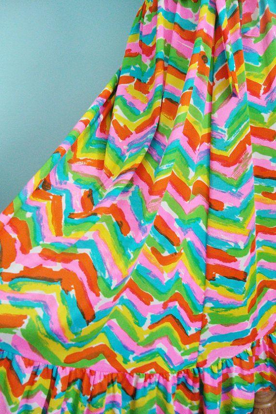 vintage 70s neon chevron skirt