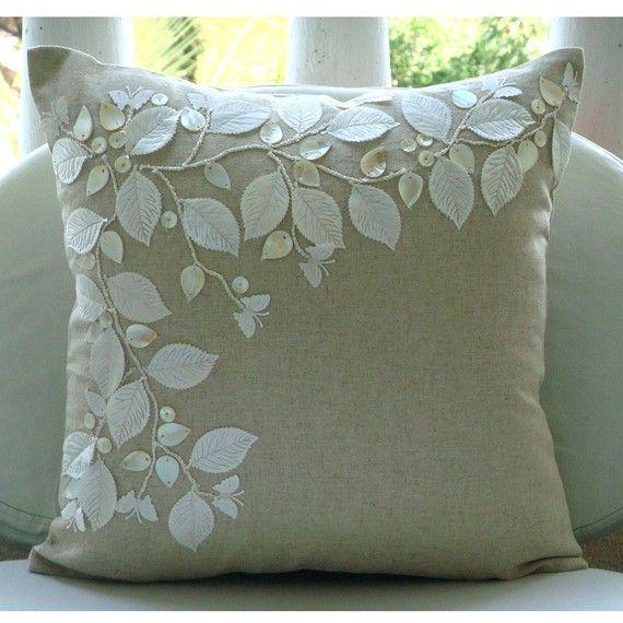 Lingerie beauté - Throw taies - 18 x 18 pouces coton lin coussins/couverture avec la mère de perle et broderie Satin
