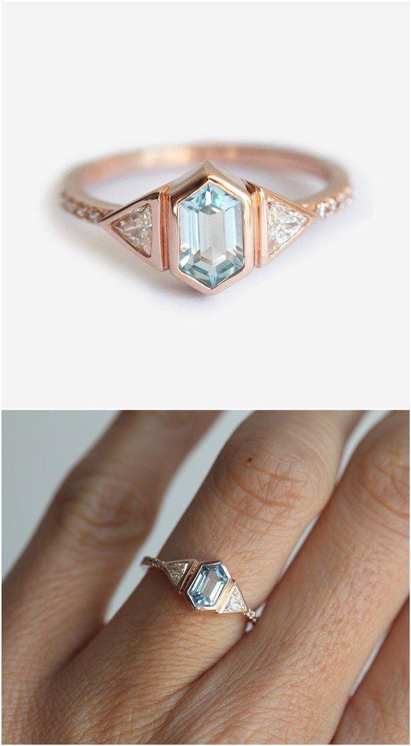Aquamarine engagement Ring / http://www.deerpearlflowers.com/sapphire-engagement-rings/