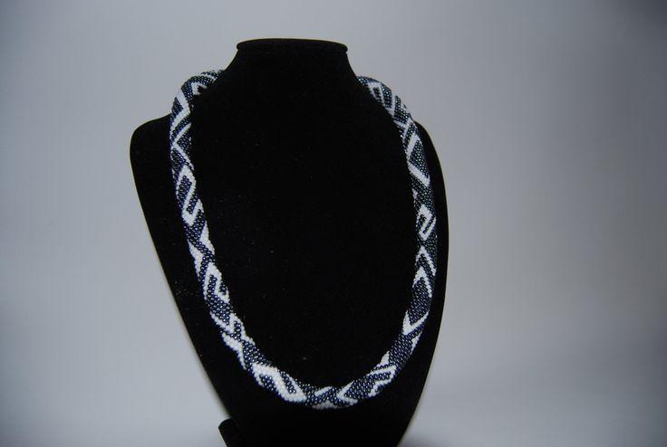 Hematite and White ZigZag Necklace made with TOHO beads by BeaduBeadu on Etsy