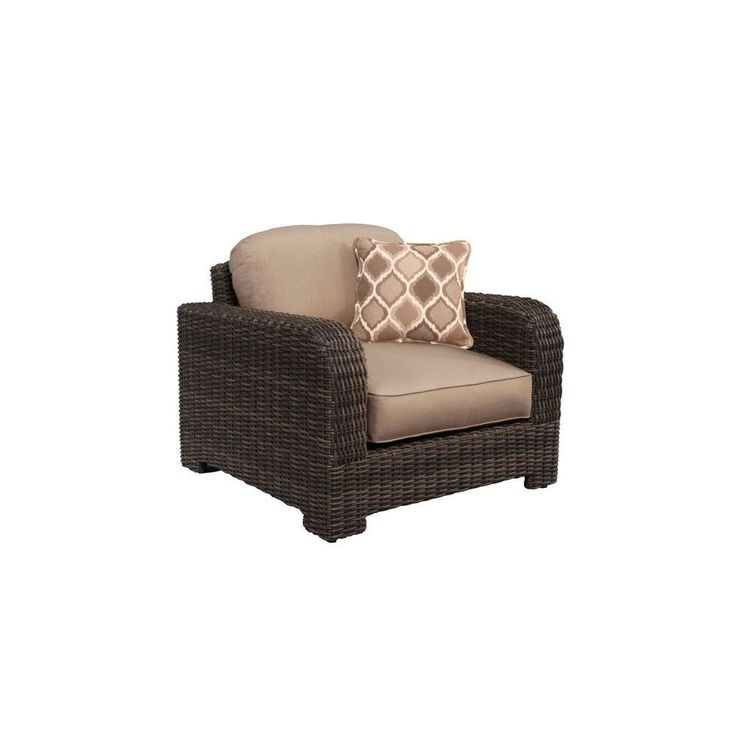 Northshore Patio Lounge Chair in Sparrow with Empire Stonehenge Throw Pillow -- CUSTOM. Fully assembled. Industry leading heavy gauge aluminum frame. Fully hand-woven frame and seat. 100% exclusive Sunbrella acrylic fabric. High quality outdoor cushion fill for lasting comfort and durability.
