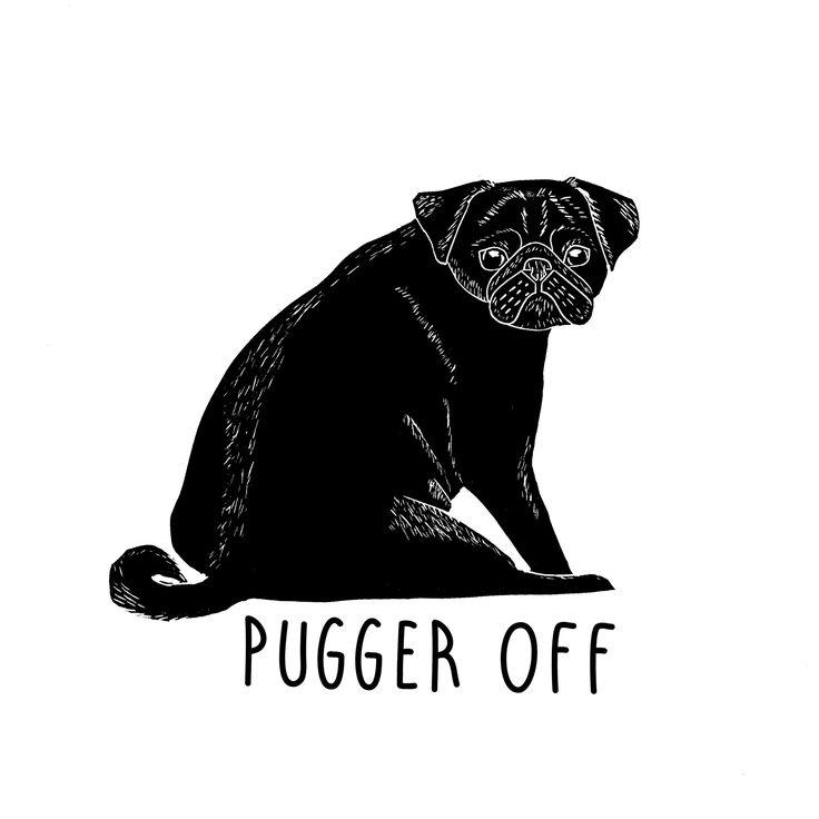 Pugger Off Grumpy Pug Black Pug Lino Cut Lino Print - The Black Pug Press