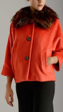 Fur collar kimono cropped jacket