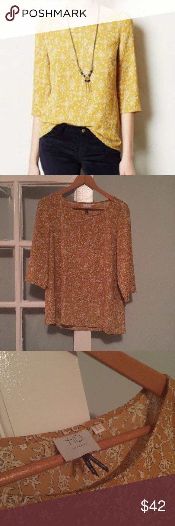 Anthropologie brand HD in Paris Blouse Anthropologie brand HD in Paris Blouse size 10 M/L in good used condition no stains holes and minimal wear Anthropologie Tops Blouses