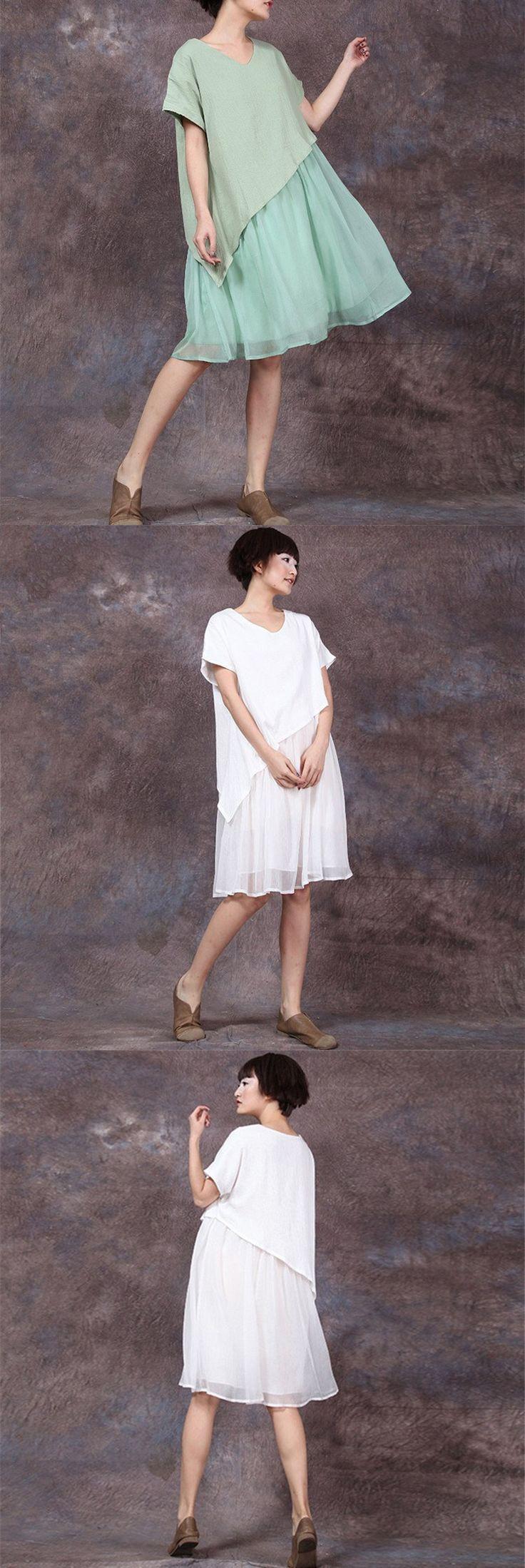 WOMEN V-NECK STITCHING LOOSE COTTON LINEN DRESS