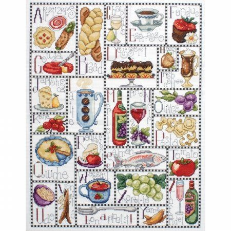 Gourmet ABC. Counted Cross Stitch Kit-16X20 14 Count, by Design Works.