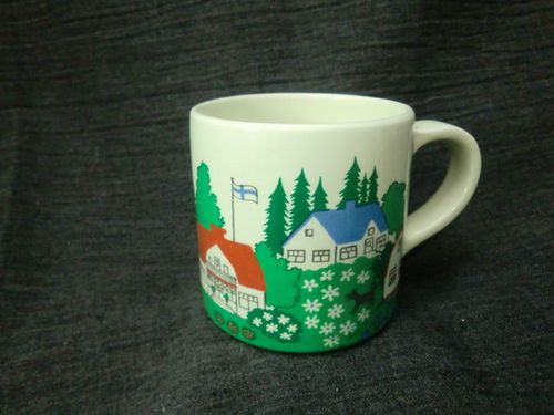 Arabia Finland Large Coffee Mug with Finnish Village Scene