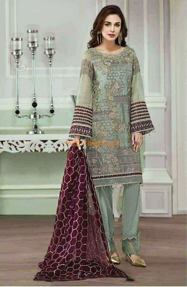Pakistani Baroque Jazmin 2019 Latest Embroidery Collection Shalwar Kameez Suit