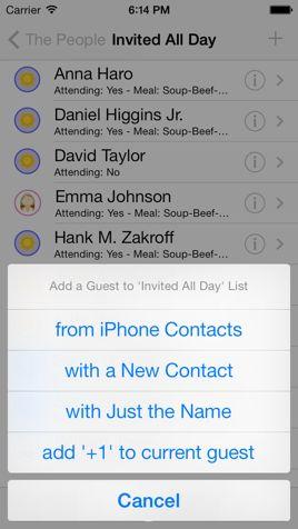 Guest Lists - iWedding Deluxe - iOS 7 wedding planner