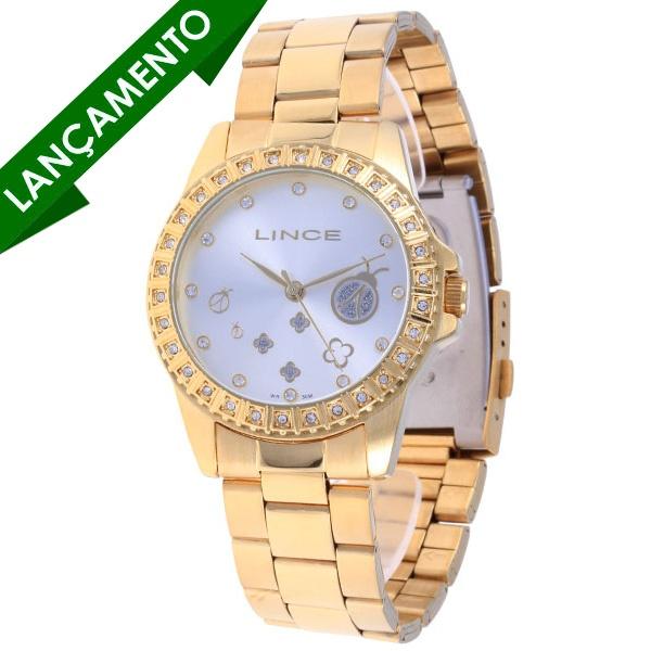 Relogio Lince Dourado. Detalhe para a Joaninha no mostrador ;-)  #dourado #fashion  #relogio  #acessorio  #lince $142,90 reais  http://www.mapadamina.com.br/lince-lrg4046l-s1kx_lince.html