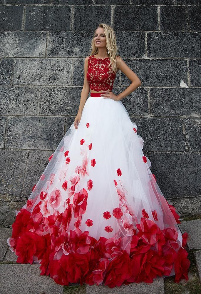 Red Lace Tulle Sleeve Princess Ball Gown Lace A Line Wedding Dress