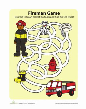 Help this fireman get on the road with all his equipment. Complete the maze to the fire engine, making sure to collect all the fireman's stuff first.