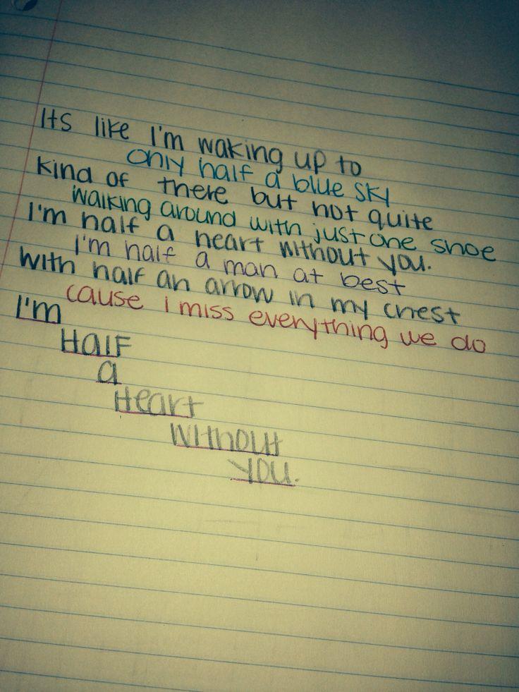 Half a Heart - One Direction | 1D Lyrics | Pinterest ...