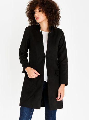 edit Wool-like Notch Neckline Coat Black