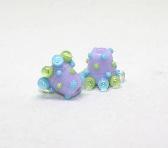 Set 2 Cone Beads 10 mm x 12 mm Heffalump Violet Lilac Green