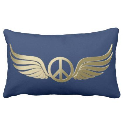Metal look peace symbol with wings lumbar pillow - metal style gift ideas unique diy personalize