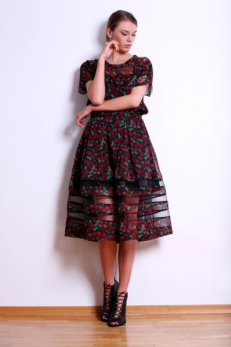 Flowers Print Silk Dress with Transparent Tulle Insertions