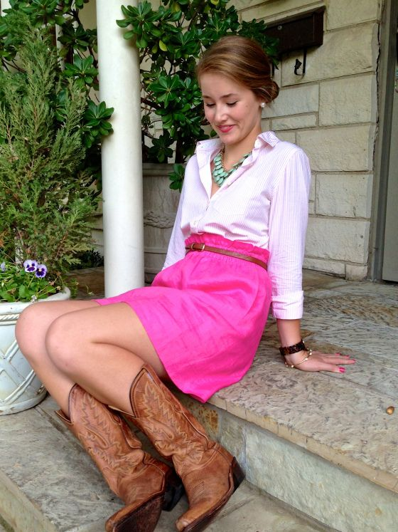 Pink and White Striped Oxford + Pink Skirt + Cowboy Boots