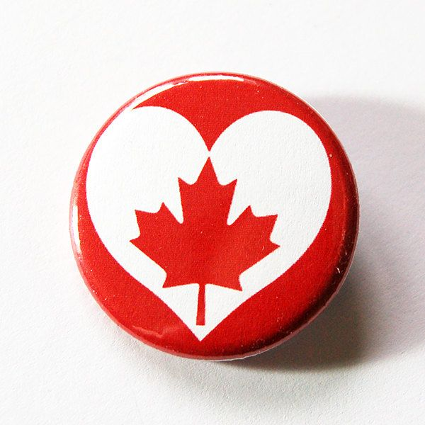 Love Canada, Canada Pin, Canada Flag, Pinback buttons, Lapel Pin, Canadian Pride, Maple Leaf, Red White, Loves Canada, Canada Day (5428) by KellysMagnets on Etsy