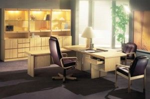 The photo shows the following models in ash: 8911A/8912/8914 desk with return 8900/8904/8906/3 x 8907 wall unit 8994 conference chair  w/leather 504 Bordeaux 8997W executive chair w/leather 504 Bordeaux