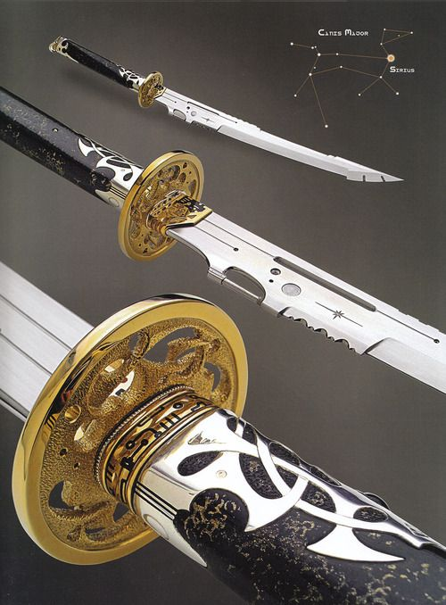 """rwa42: """" """"Sirius Knight"""" (2004); """"Arcturus"""" (2004); """"Perseus"""" (2004) by Jose C. de Braga (from: Art and Design in Custom Fixed-Blade Knives; Dr. David Darom; Chartwell Books, 2007. - ISBN 13:..."""