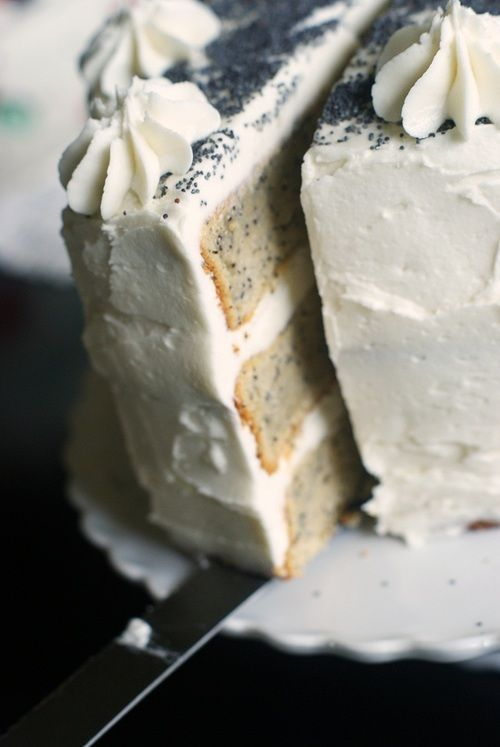 Gorgeous Spiced Poppy Seed Cake with Almond Buttercream Frosting. food cake dessert