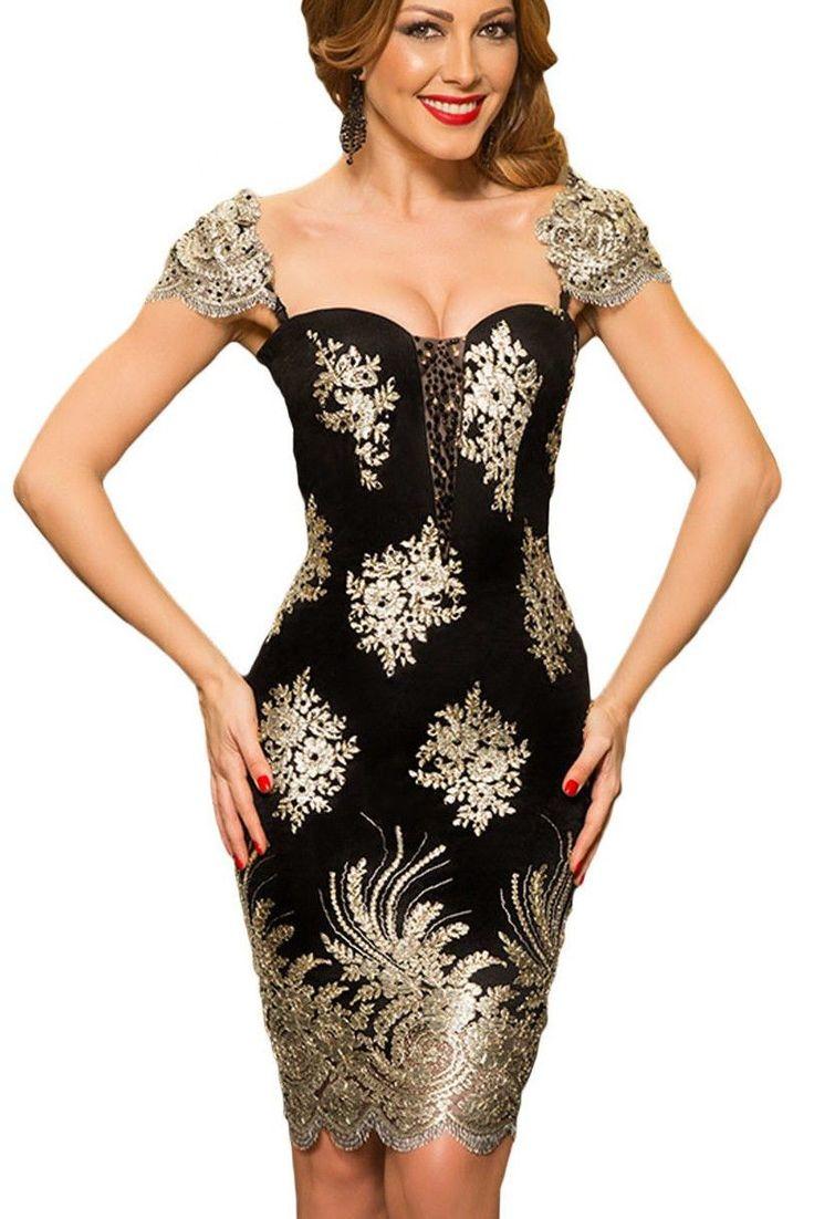 $21.99 Gold Embroidered Puff Sleeve Elegant Formal Evening Little Black Dress https://modeshe.com #modeshe @modeshe #Black #Gold