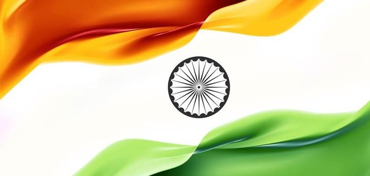 The National flag of India is a horizontal rectangular tricolour flag, of India saffron, white and India green; with the Ashok Chakra, a 24-spoke wheel, in navy blue at its centre.