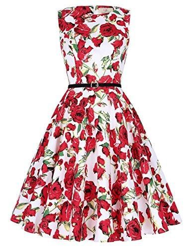 f6e2a26207fc03 GRACE KARIN Boatneck Sleeveless Vintage Tea Dress With Belt