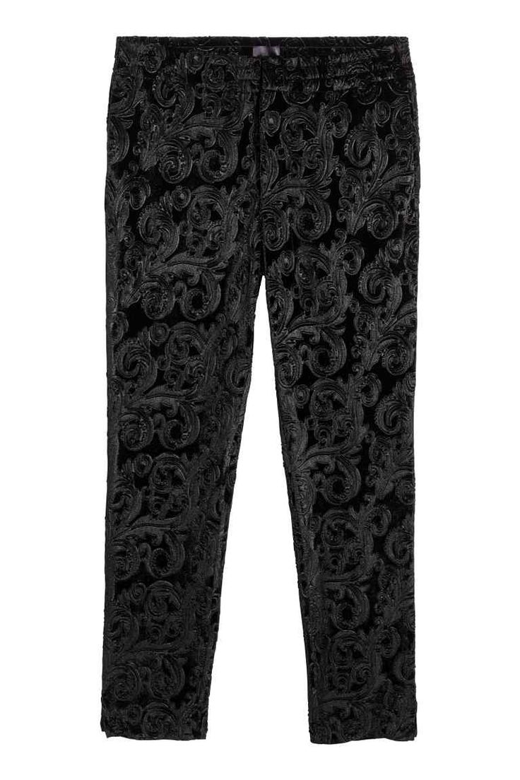 Velours broek - Zwart - HEREN   H&M NL