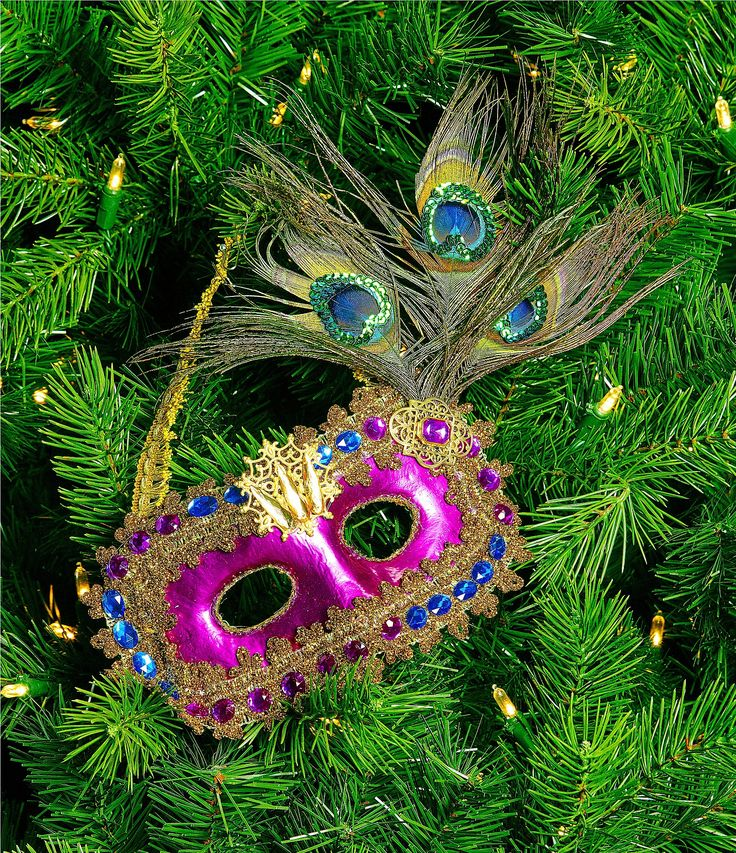 Trimsetter Crescent City Satin and Feather Mask Ornament #Dillards