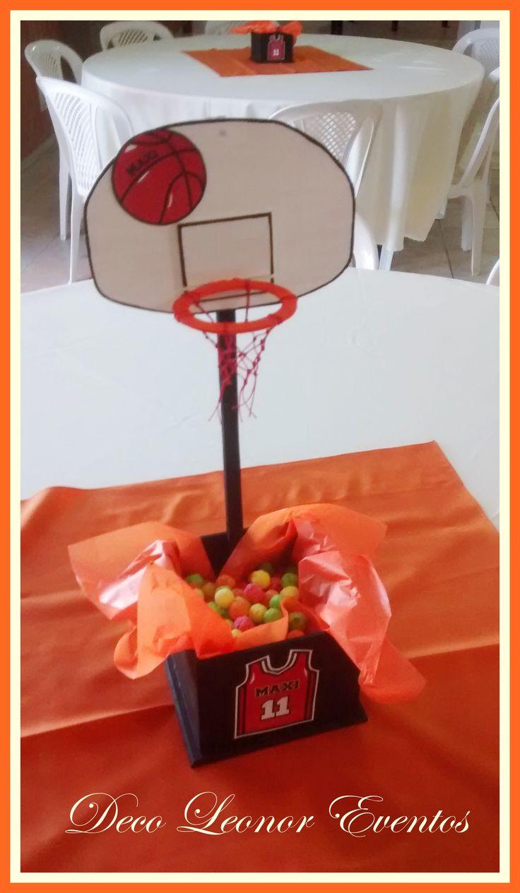 Centro de mesa contenedor ,basquet