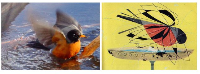 robin - Minimal realism in art and Charley Harper, bird project for kids (potato stamps with arTree), lesson and power point presentation