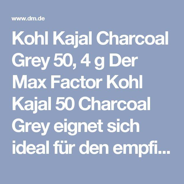 Kohl Kajal Charcoal Grey 50, 4 g  Der Max Factor Kohl Kajal 50 Charcoal Grey eignet sich ideal für den empfindlichen Augenbereich: Er ist fest genug, um eine präzise Kontur zu ermöglichen, aber weich genug für Schattierungen auf den Lidern und am unteren Wimpernrand. Auch Smokey Eyes sind mit dem geschmeidigen Kajalstift leicht umsetzbar.