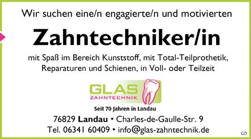 Stellenbezeichnung: Zahntechnikerin / Zahntechniker Arbeitsort: 76829 Landau Baden-Württemberg, Deutschland Weitere Informationen unter: http://stellencompass.de/anzeige/?id=139380
