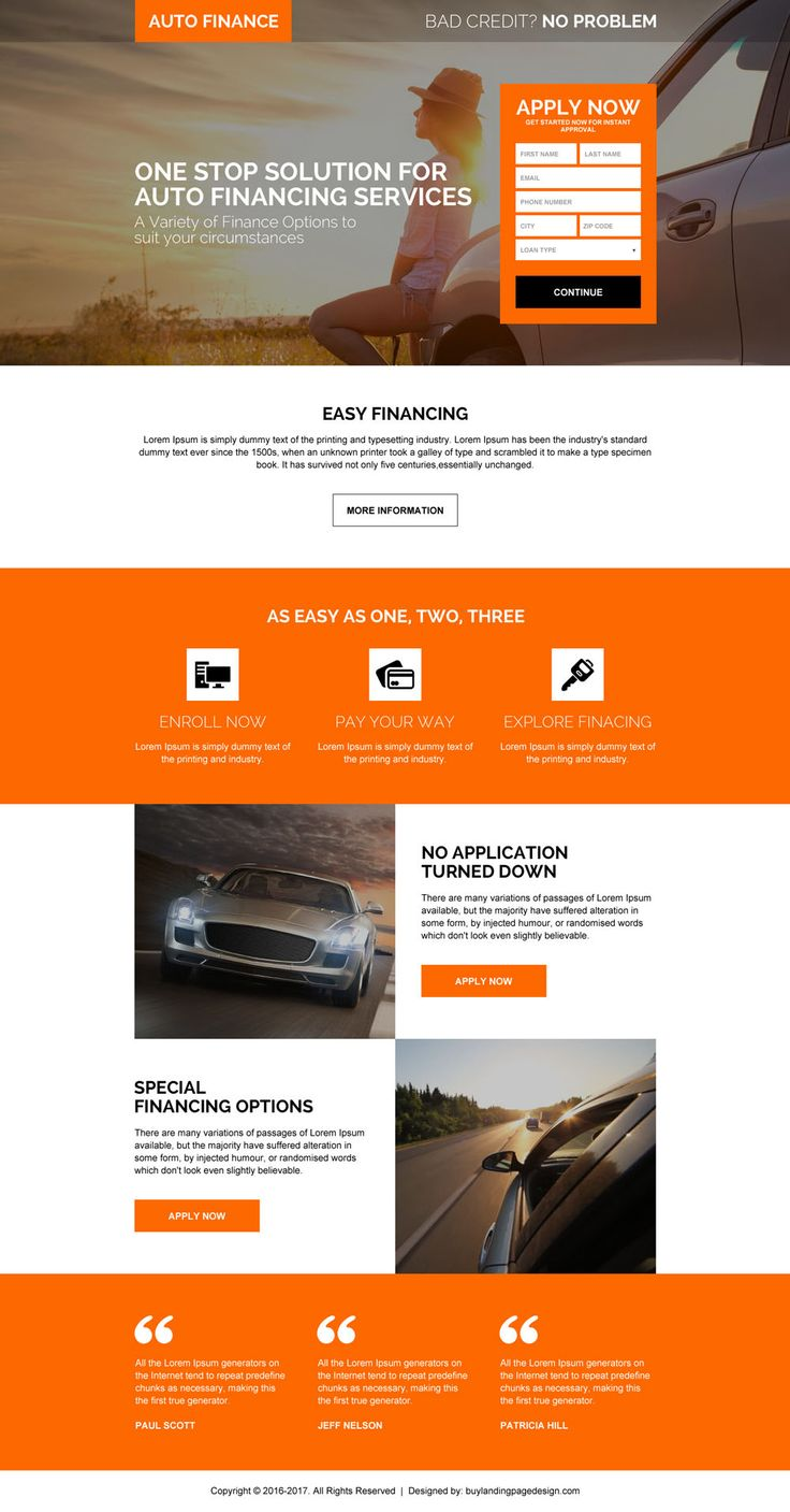auto financing solution landing page design page for capturing positive leads