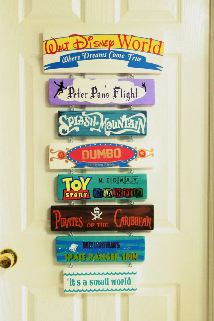 Hand painted Disney sign, completely custom to your favorite rides and attractions. by PiecesByJeanne on Etsy https://www.etsy.com/listing/238574209/hand-painted-disney-sign-completely