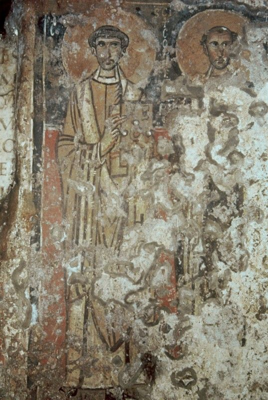 Mural from catacombs of Calixto, 3rd c. BC. detail of St Cornelius and St Ciprianos.
