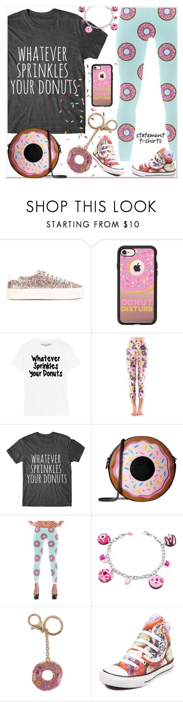 """Whatever Sprinkles Your Donuts"" by theseapearl ❤ liked on Polyvore featuring Yves Saint Laurent, Casetify, Emily Hsu Designs, Circus by Sam Edelman, Dolci Gioie, Viola, Converse, outfit, teen and trend"