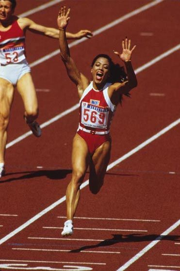 "Florence Griffith Joyner----She is considered the ""fastest woman of all time"" based on the fact that the world records she set in 1988 for both the 100 metres and 200 metres still stand and have yet to be seriously challenged!!"