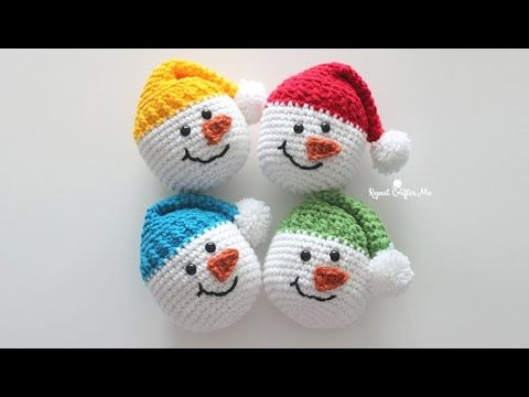 Crochet Snowman Heads (Repeat Crafter Me)
